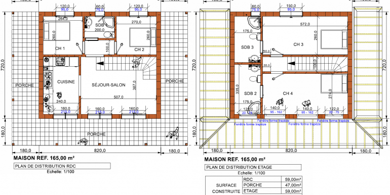 1, plans RDC et ETAGE maison 165,00 m²