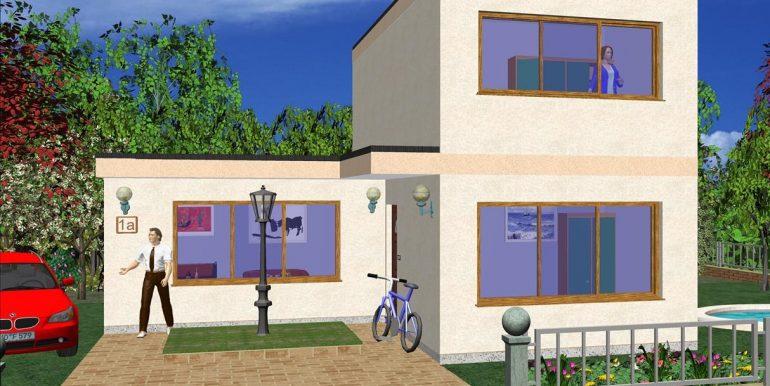 Vivienda prefabricada con techo plano 91,56 m²