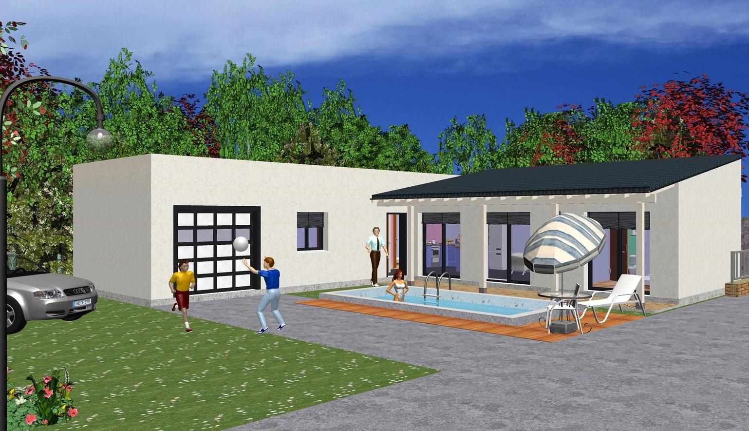 Maison moderne contemporaine 127 50 m prix finition totale ttc maison ossature - Prix maison moderne ...