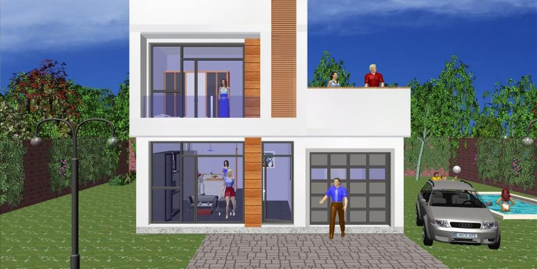 Maison moderne toit plat prix