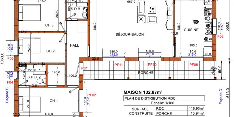 PLAN MAISON 132,87 m²