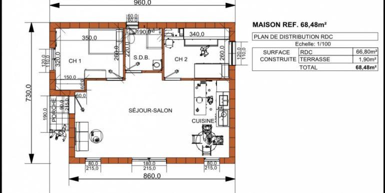 PLAN MAISON 68,48