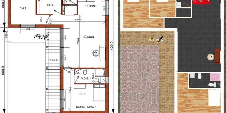 PLAN RDC maison 108, 50 m2
