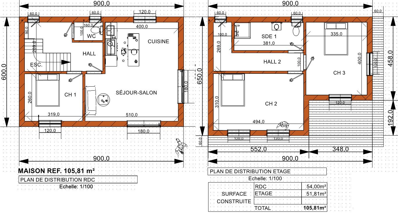 Maison moderne contemporaine 105 81 m prix finition for Plan maison prix