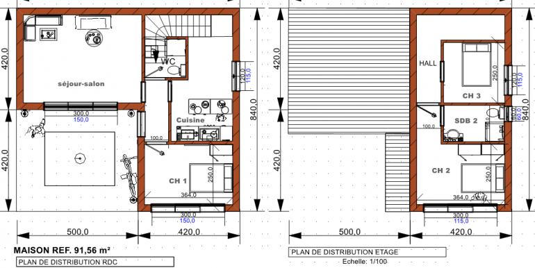 PLAN maison 91, 56