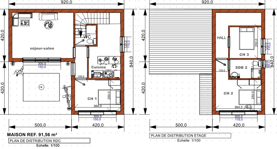 plan maison 91 56 - Plan Maison Moderne Contemporaine