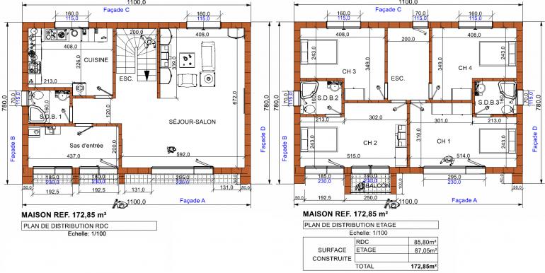 PLANS maison moderne 172,85 RT 2020