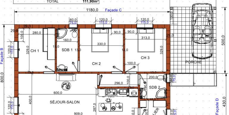 Plan rdc maison 111 90