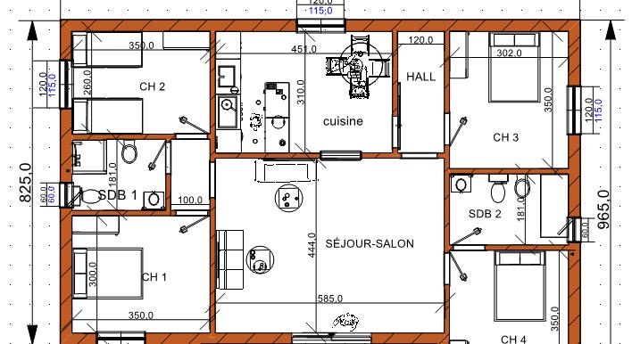plan maison 128,94