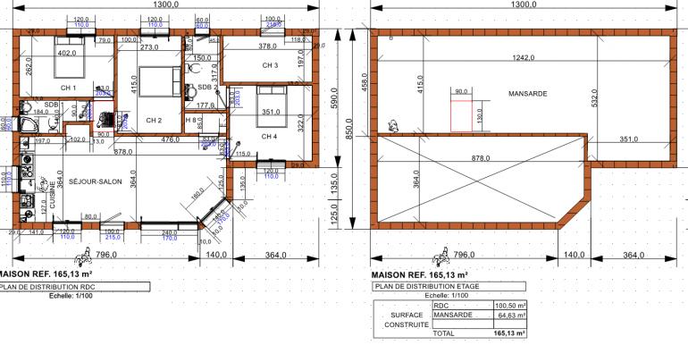 plan maison 165,13