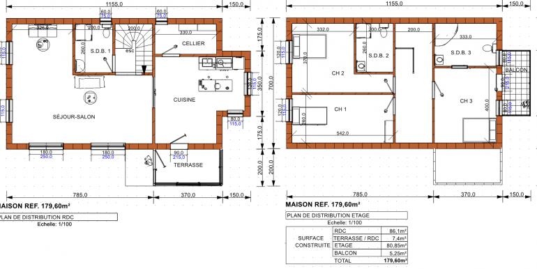plan maison 179 60
