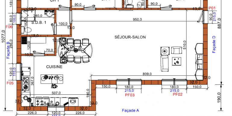 plan rdc maison 133, 24